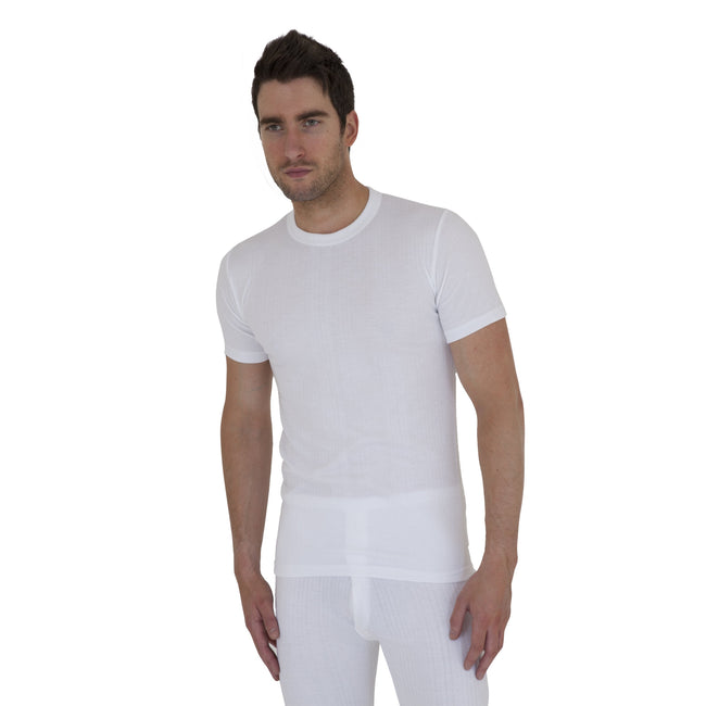White - Front - Mens Thermal Underwear Short Sleeve T Shirt Polyviscose Range (British Made)