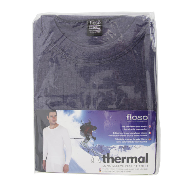 Charcoal - Front - FLOSO Mens Thermal Underwear Long Sleeve T Shirt Top (Standard Range)