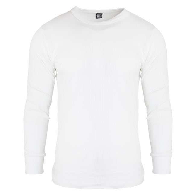 White - Side - FLOSO Mens Thermal Underwear Long Sleeve T Shirt Top (Standard Range)