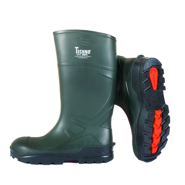 Dark Green-Black - Front - Troya Techno Unisex Adults Safety Wellingtons