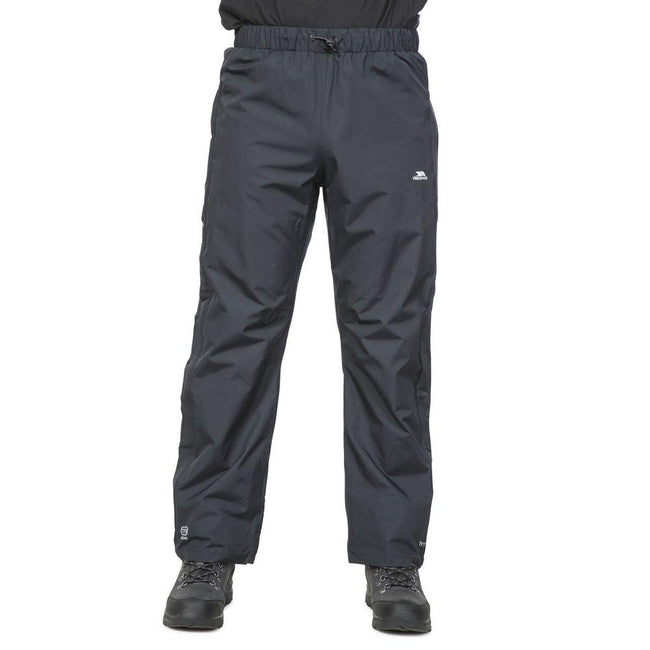 Black - Back - Trespass Mens Purnell Waterproof & Windproof Over Trousers