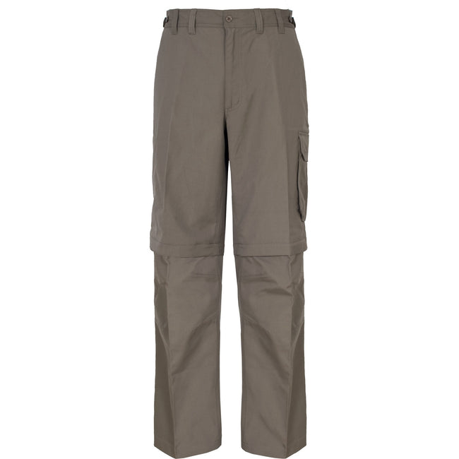 Bark - Front - Trespass Mens Mallik Convertible Water Repellent Cargo Trousers