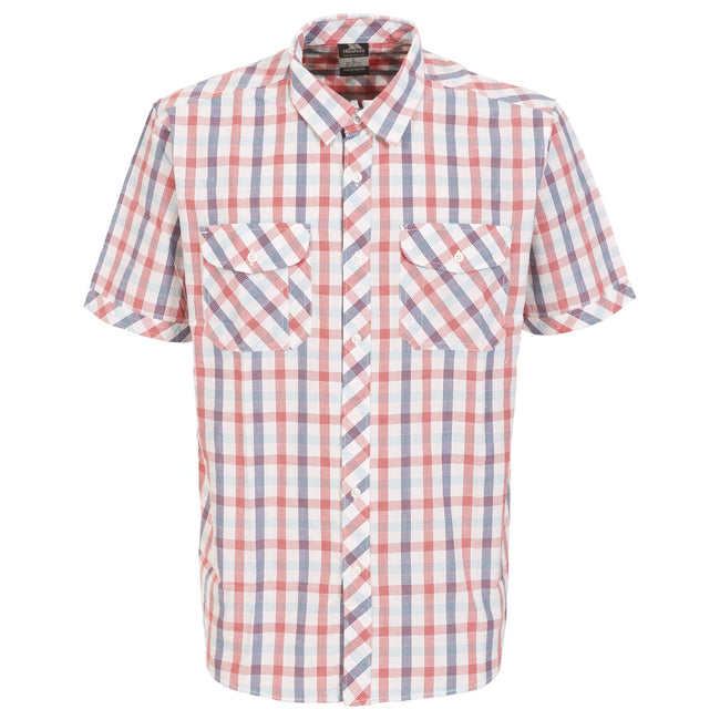 Red Check - Front - Trespass Mens Hopedale Short Sleeve Check Shirt