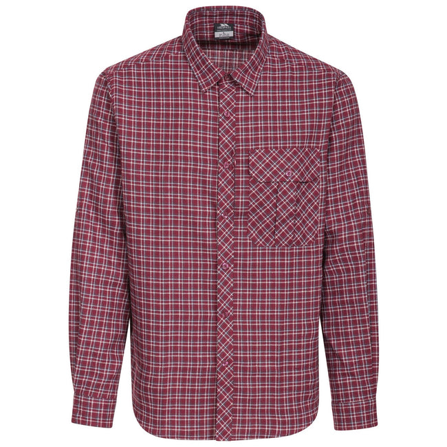 Red Check - Front - Trespass Mens Snyper Check Shirt