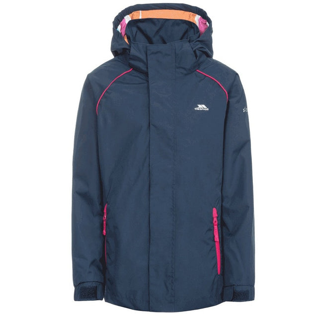 Navy - Front - Trespass Childrens Girls Lunaria Waterproof Jacket