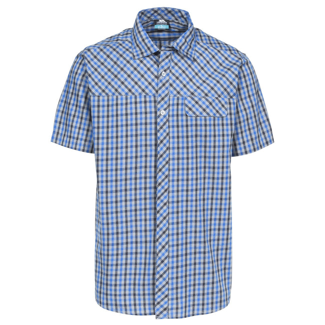 Cedar Green Check - Front - Trespass Mens Juba Short Sleeve Casual Shirt