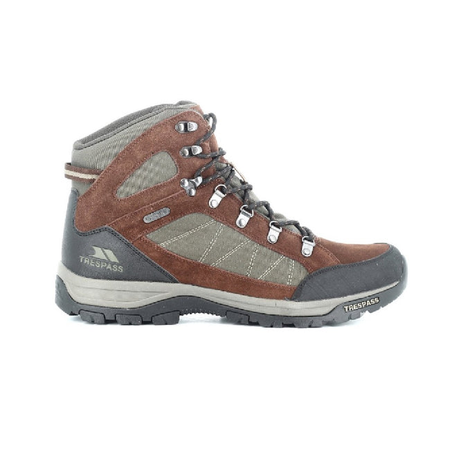 Dark Brown - Back - Trespass Mens Chavez Mid Cut Hiking Boots