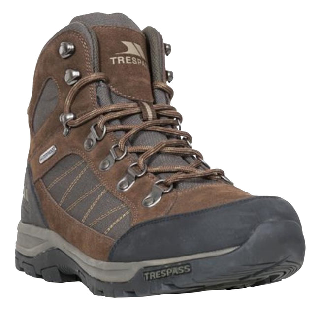 Dark Brown - Front - Trespass Mens Chavez Mid Cut Hiking Boots