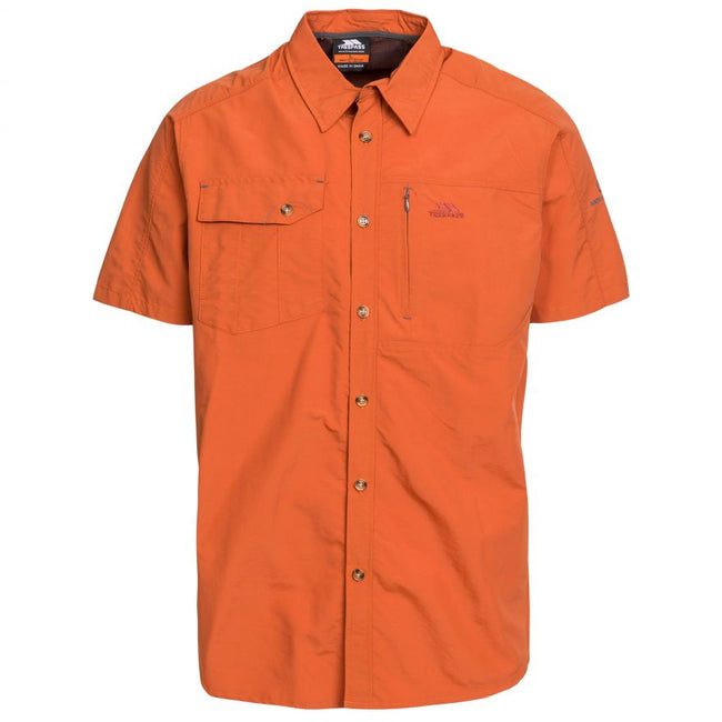 Olive - Front - Trespass Mens Lowrel Short Sleeve Travel Shirt