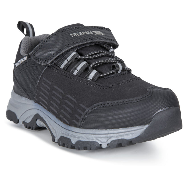 Black - Back - Trespass Childrens-Kids Harrelson Low Cut Hiking Trainers