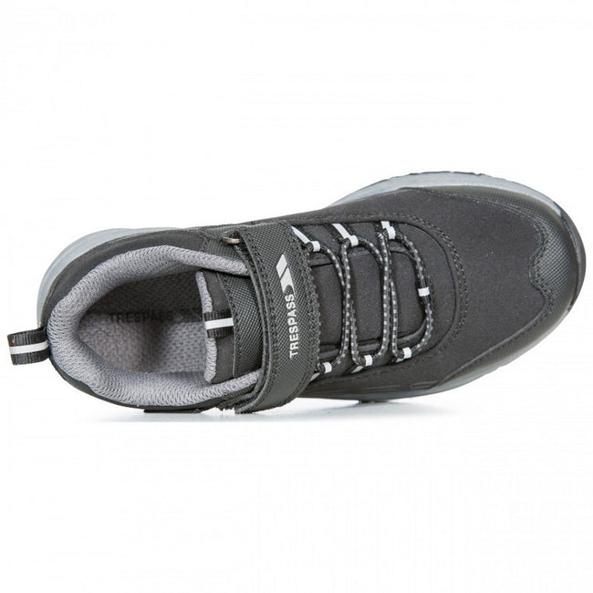 Black - Side - Trespass Childrens-Kids Harrelson Low Cut Hiking Trainers