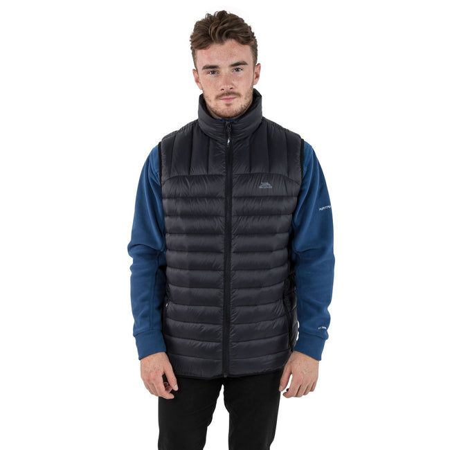 Black - Side - Trespass Mens Hoppers Down Gilet