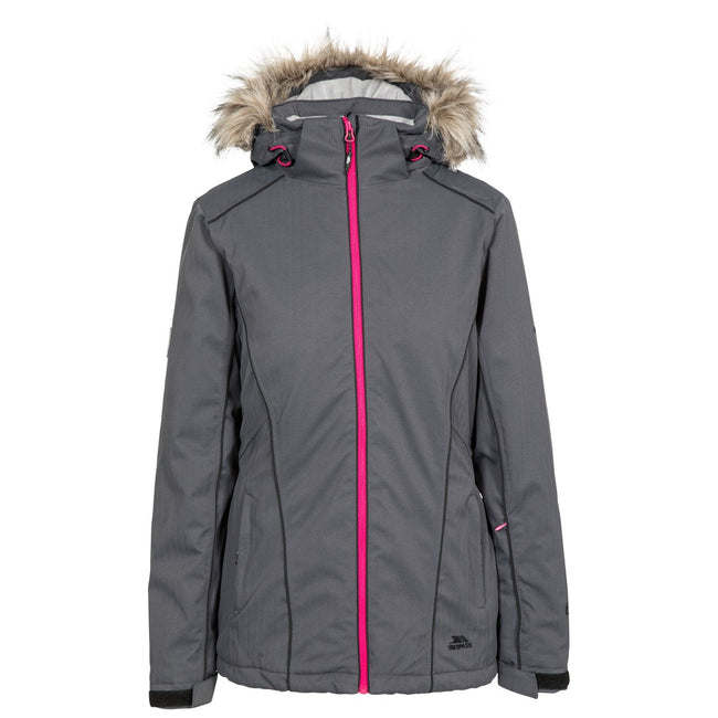 Carbon - Front - Trespass Womens-Ladies Caitly Hooded Touch Fastening Ski Jacket