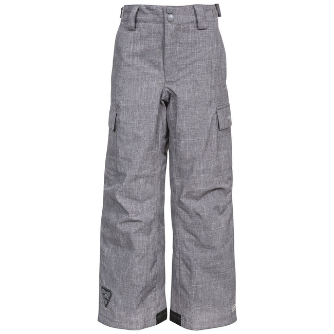 Grey - Front - Trespass Childrens-Kids Joust Weatherproof Padded Touch Fastening Trousers