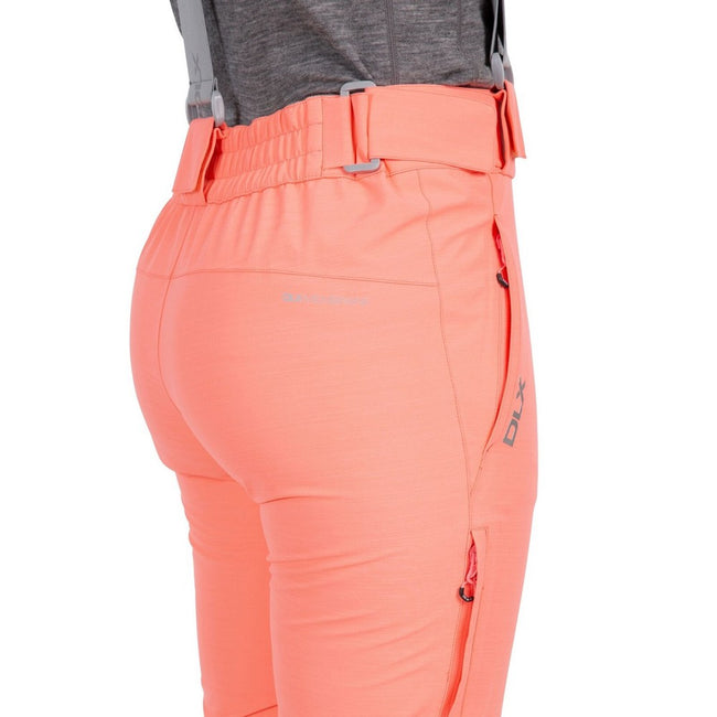 Neon Coral - Side - Trespass Womens-Ladies Jacinta DLX Ski Salopettes Trousers