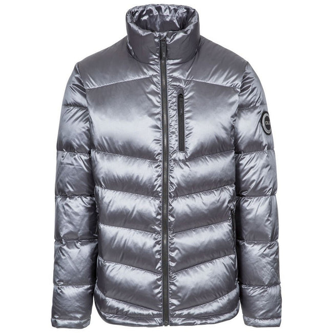 Pewter Grey - Front - Trespass Mens Gene DLX Down Jacket