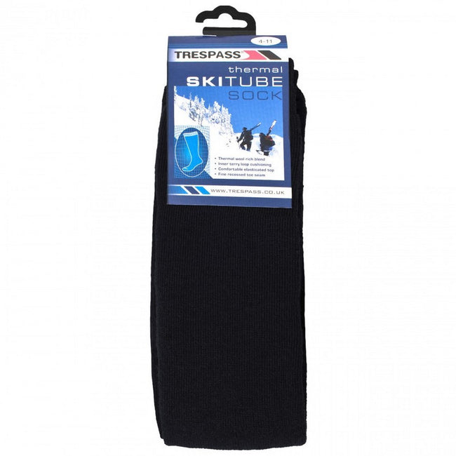 Navy Blue - Back - Trespass Adults Unisex Tubular Luxury Wool Blend Ski Tube Socks