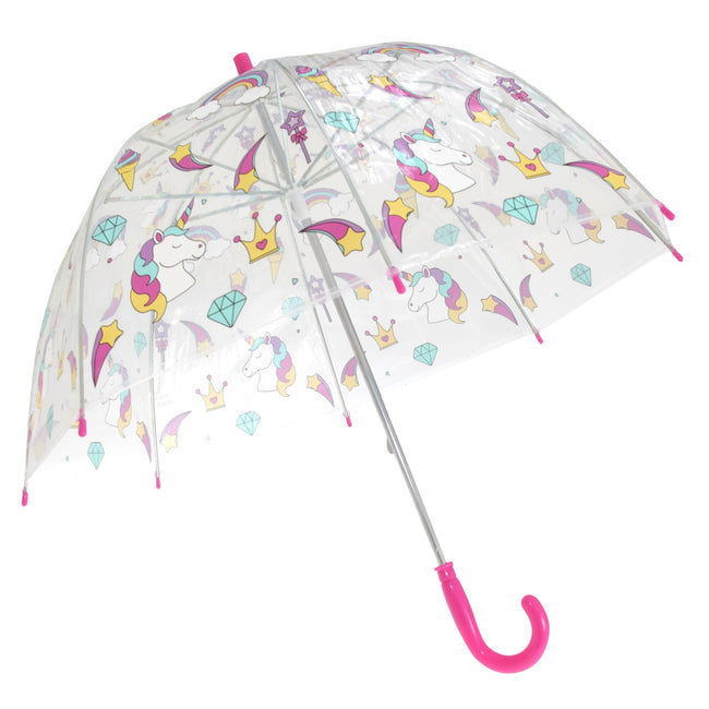 Unicorn-Rainbow - Front - X-Brella Childrens-Kids Transparent Unicorn And Rainbow Themed Stick Umbrella