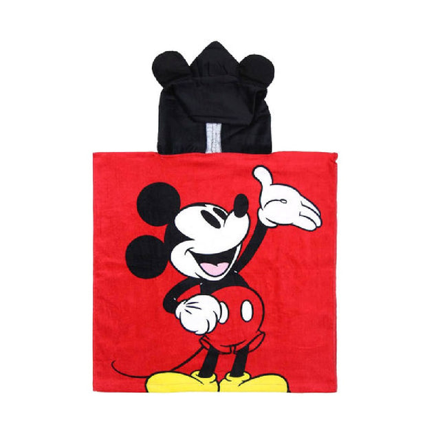 Red-Black - Front - Mickey Mouse Childrens-Kids Hooded Poncho Towel