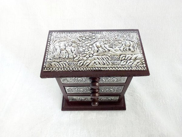 Vintage Jewelry Gift Wooden Box Drawers Organizer