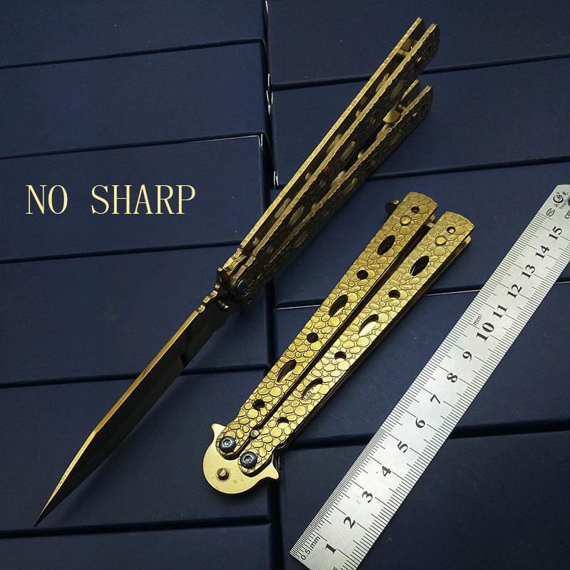 Gold Butterfly Knife Practice Folding Snake Dragon NO Sharp