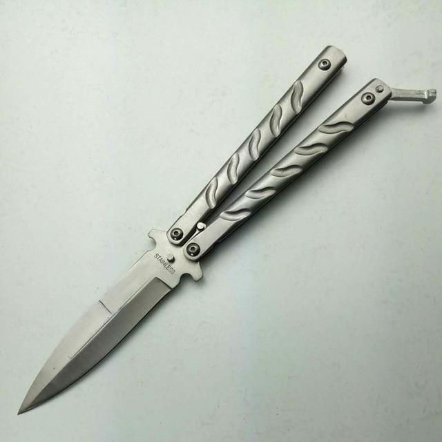 Butterfly Knife Silver Titanium Training Tool