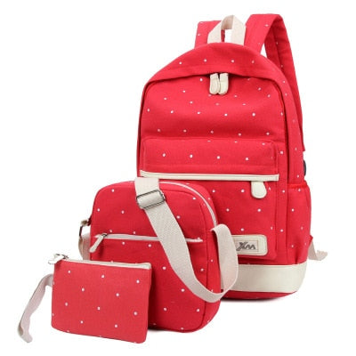 Women Backpack School Girl Bag Set