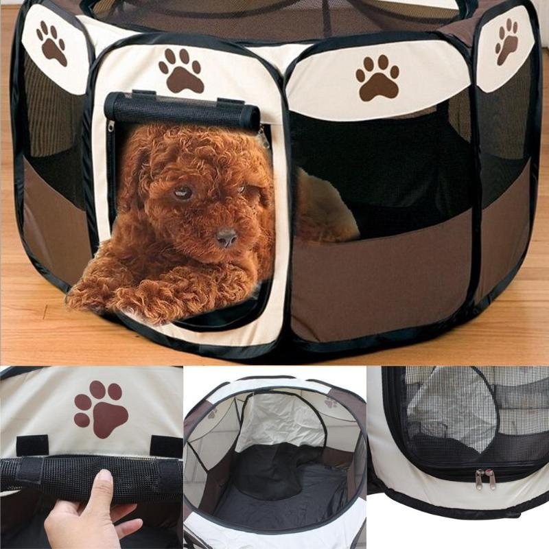 Portable Dog House Canva Octagonal Fence Outdoor Supplies