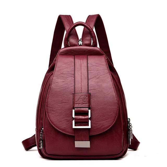 Women Leather Backpack School Bag