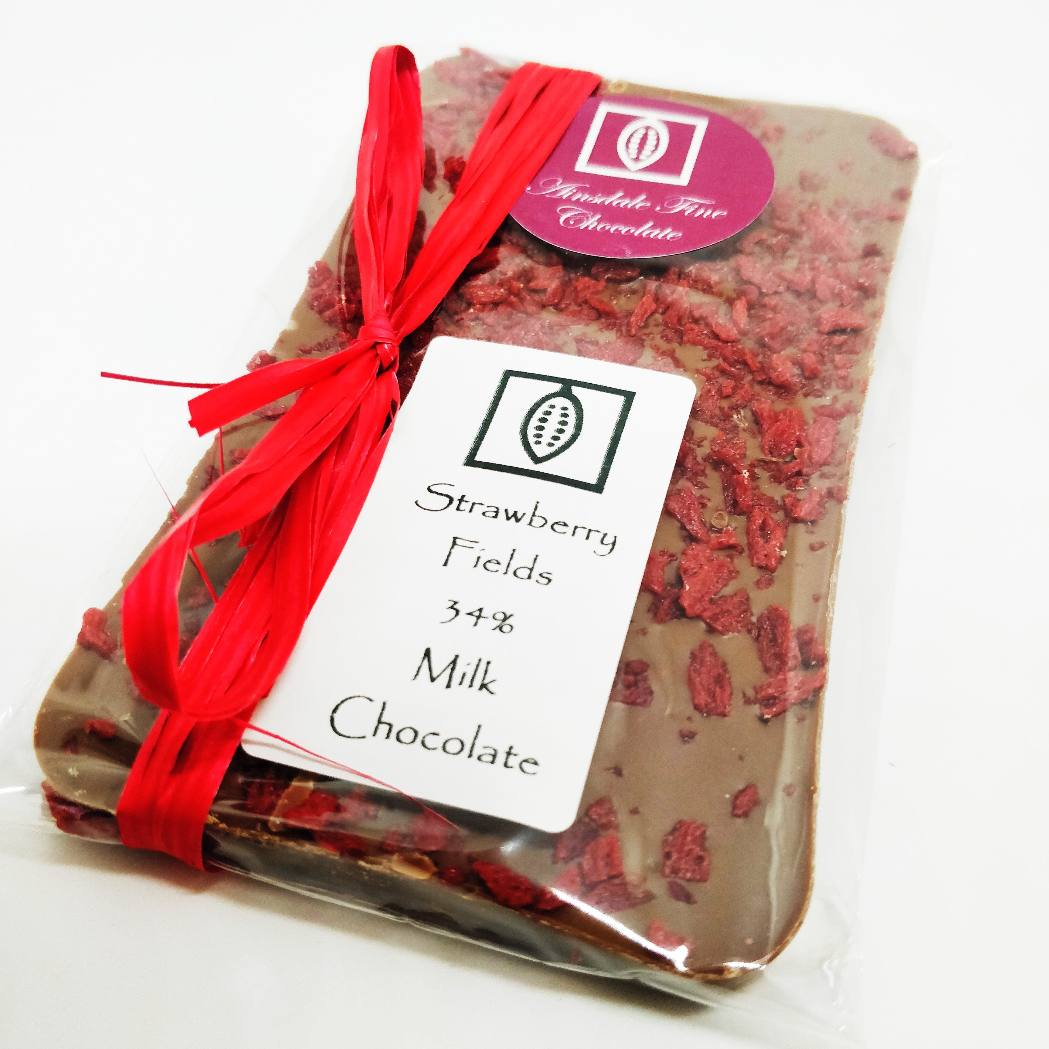 Strawberry Fields 34% Milk Chocolate 100g Bar