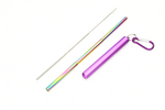 Extendable Multi-Colored Stainless Steel Straw in Sea Lavendar Case : Travel Collection