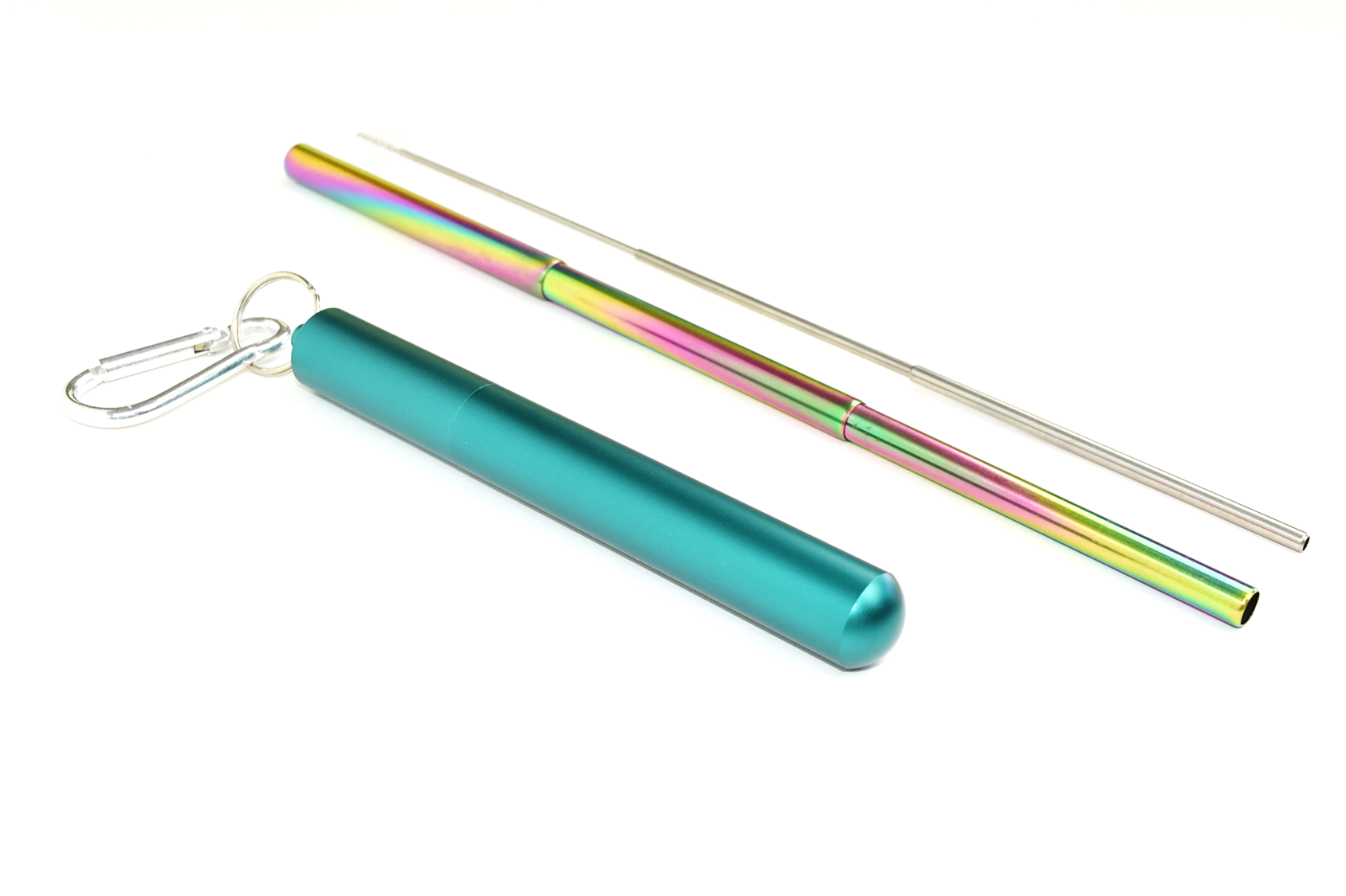 Extendable Multi-Colored Stainless Steel Straw in Teal Case : Travel Collection