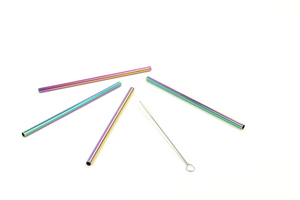 4-Piece Multi-Colored Cocktail Stainless Steel Straw Set