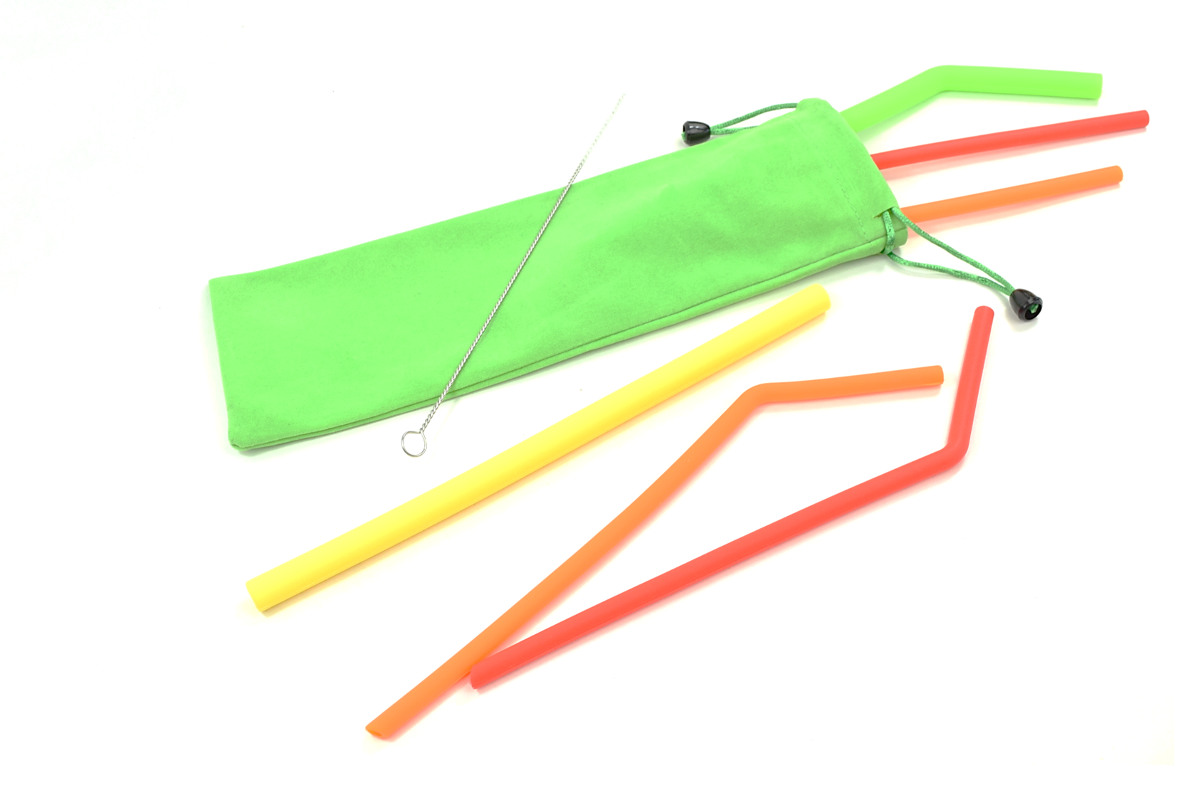 6-Piece Silicone Straw Set with Lime Green Bag : Silicone Collection