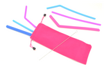 6-Piece Silicone Straw Set with Pink Bag : Silicone Collection