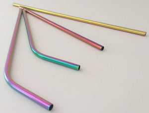 Multi-Colored Stainless Steel Straws, Extra Long and Regular