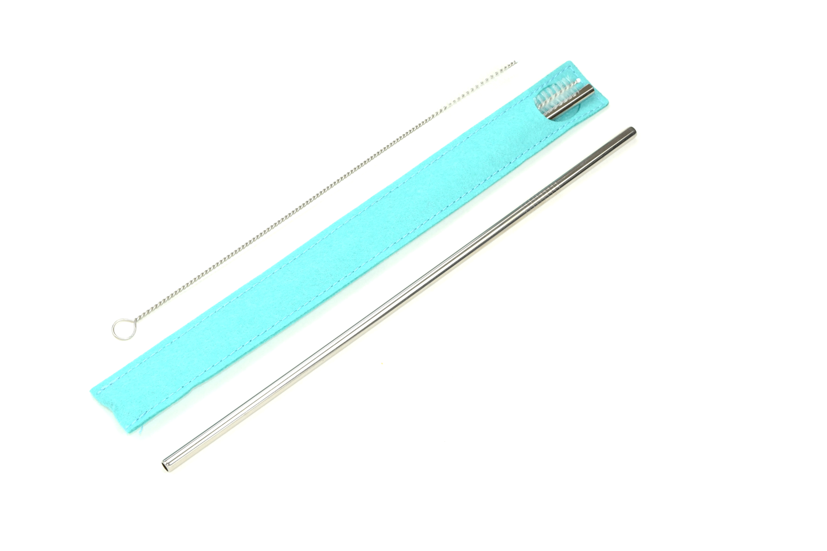 Single Stainless Steel Straw in a Turquoise Case : Single Straw Collection