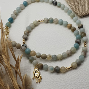 Collier BURANO - amazonite et main