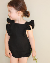 Load image into Gallery viewer, Black Frill Romper - The Tiny Urban