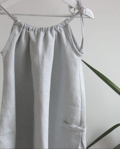 Dove Linen Drawstring Dress - The Tiny Urban