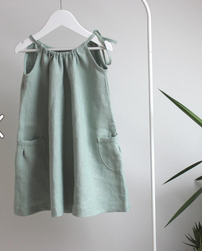 Aqua Linen Drawstring Dress - The Tiny Urban