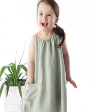 Load image into Gallery viewer, Aqua Linen Drawstring Dress - The Tiny Urban