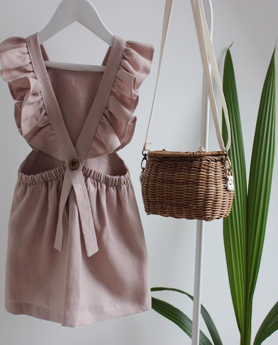 Mocha Frilled Dress - The Tiny Urban