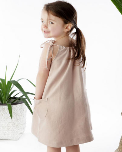 Mocha Linen Drawstring Dress - The Tiny Urban