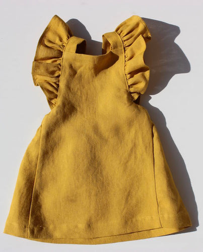 Mustard Frilled Dress - The Tiny Urban