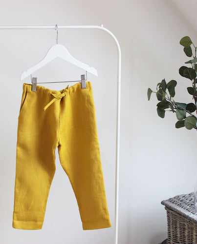 Mustard Linen Pants - The Tiny Urban