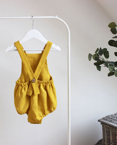 Mustard Button Back Romper - The Tiny Urban