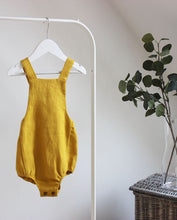 Load image into Gallery viewer, Mustard Button Back Romper - The Tiny Urban