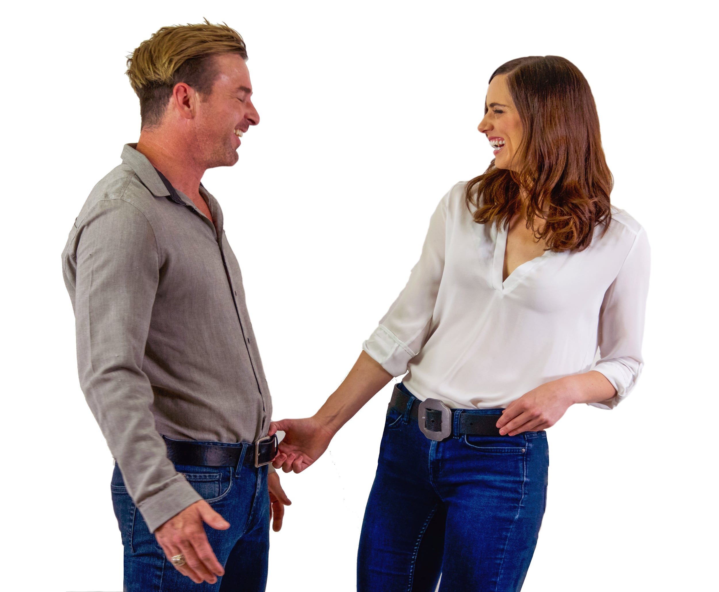 couple with expandable belt flirting