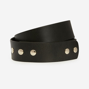 Buckleless Snap Belt - Black Bridle Belt
